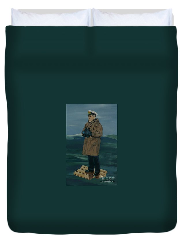 Captain Duvet Cover featuring the painting The Captain by Anthony Dunphy