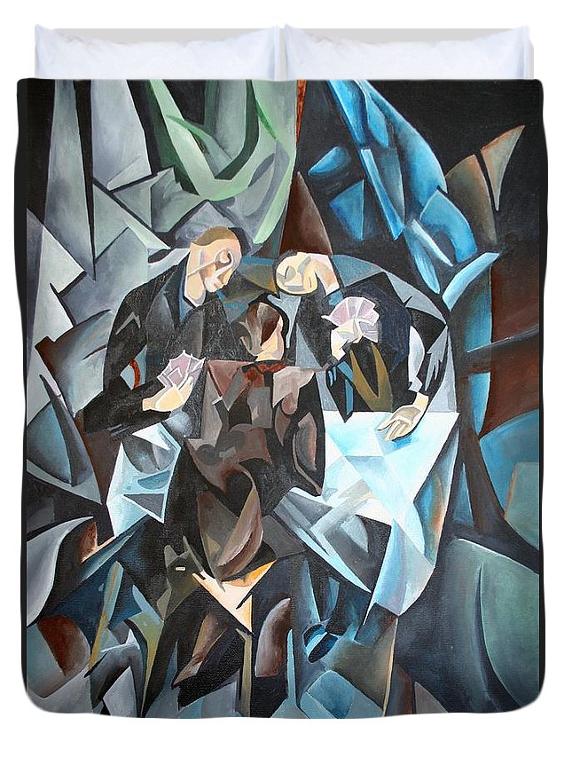Cubism Duvet Cover featuring the painting The Card Players by Taiche Acrylic Art