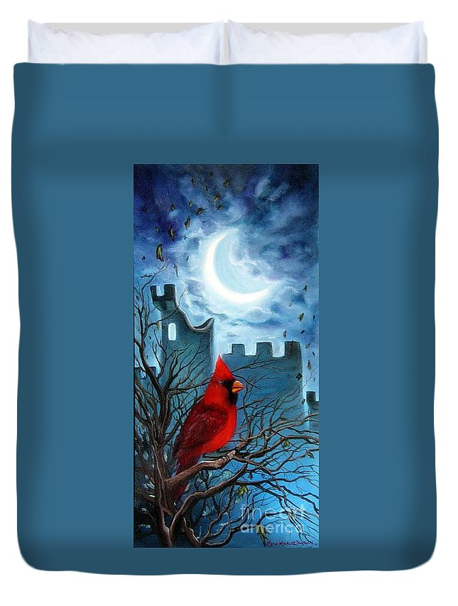 Cardinal Duvet Cover featuring the painting The Cardinal by Lora Duguay