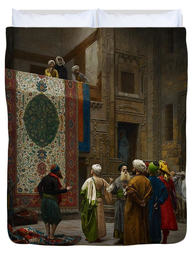 Gerome Duvet Cover featuring the painting The Carpet Merchant by Jean Leon Gerome