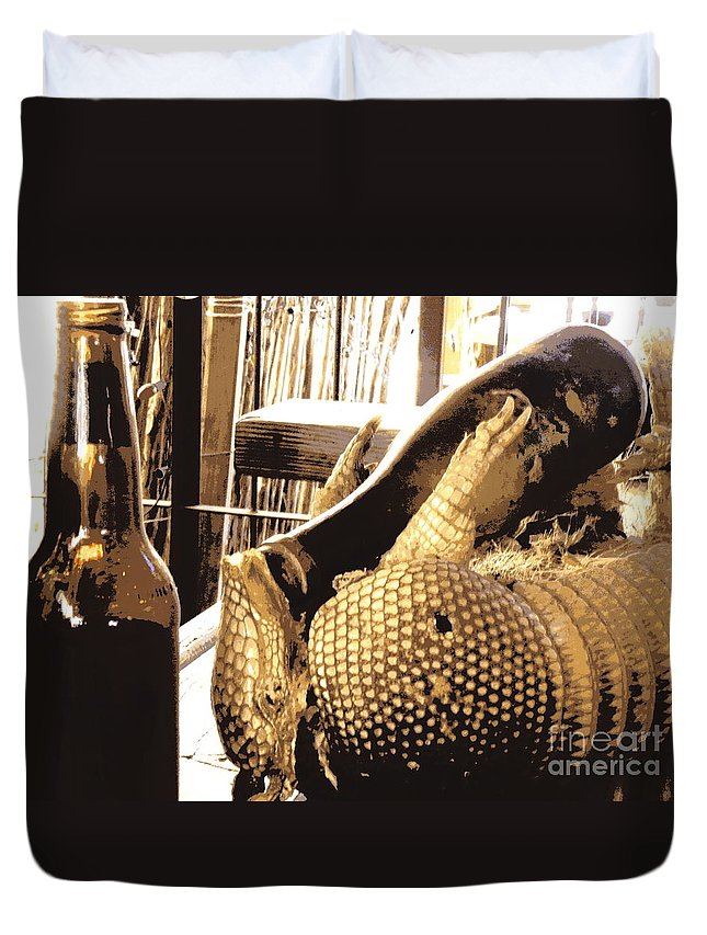 Armadillo Duvet Cover featuring the photograph The Cask Of Armadillo by Joe Jake Pratt