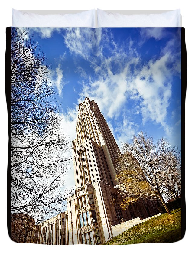 Cathedral Of Learning Pittsburgh Pa Oakland Pitt University College Education Taaffe Urban Panthers Students Frat Europe Andy Warhol Warhola East Pittsburgh Forbes Field Honus Wagner Duvet Cover featuring the photograph The Cathedral Of Learning 1 by Jimmy Taaffe