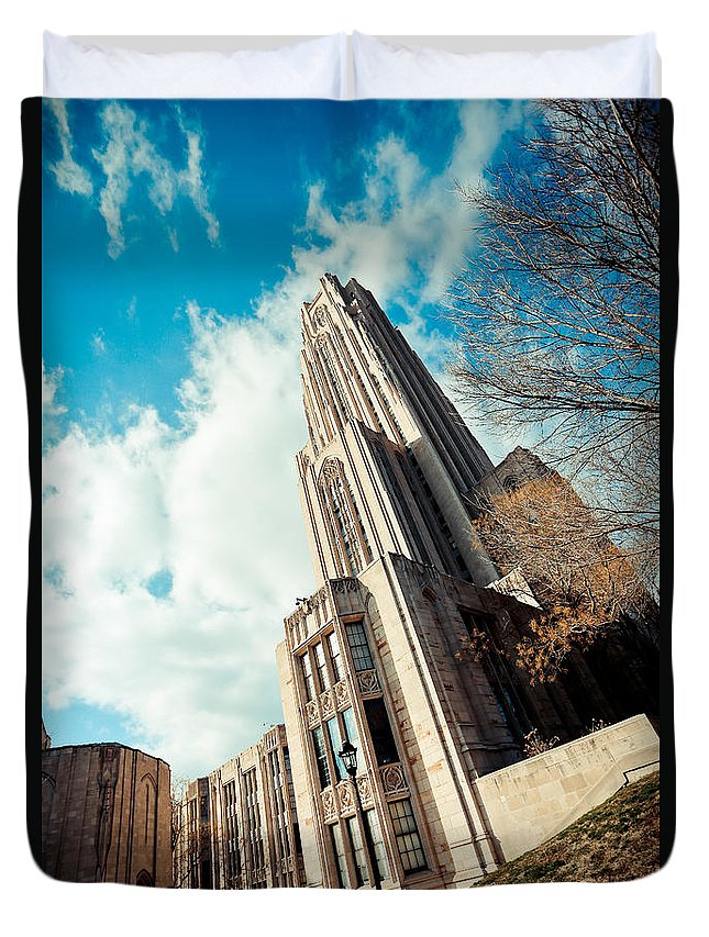 Cathedral Of Learning Pittsburgh Pa Oakland Pitt University College Education Taaffe Urban Panthers Students Frat Europe Andy Warhol Warhola East Pittsburgh Forbes Field Honus Wagner Duvet Cover featuring the photograph The Cathedral Of Learning 3 by Jimmy Taaffe