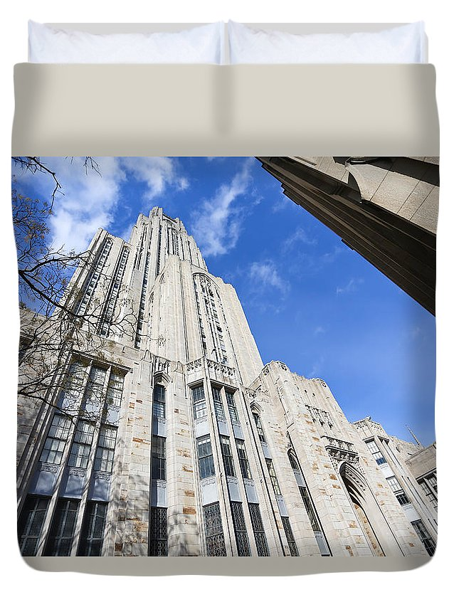Cathedral Of Learning Pittsburgh Pa Oakland Pitt University College Education Taaffe Urban Panthers Students Frat Europe Andy Warhol Warhola East Pittsburgh Forbes Field Honus Wagner Duvet Cover featuring the photograph The Cathedral Of Learning 5 by Jimmy Taaffe