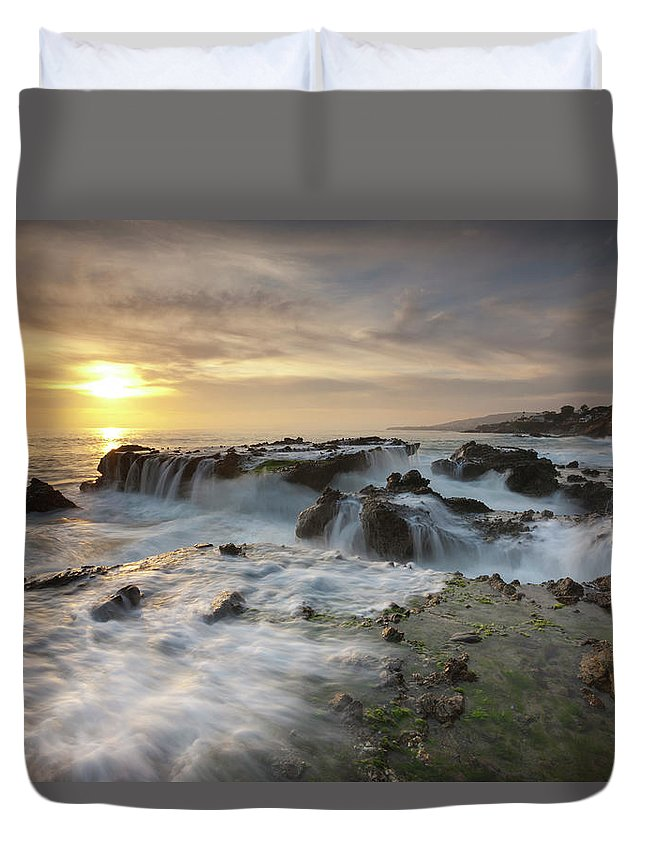 Scenics Duvet Cover featuring the photograph The Cauldron - Victoria Beach by Images By Steve Skinner Photography