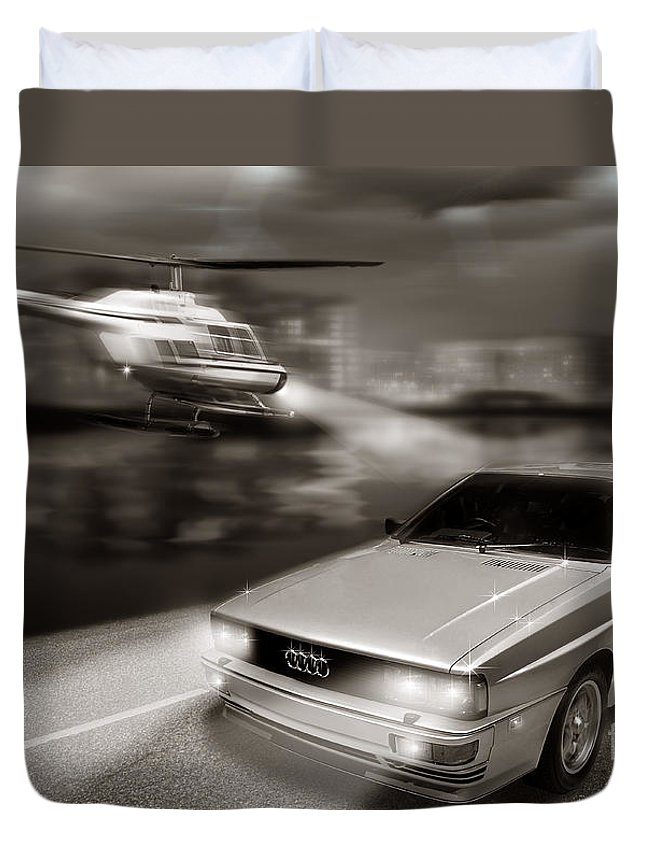 Audi Quattro Duvet Cover featuring the digital art The Chase 3 by Linton Hart