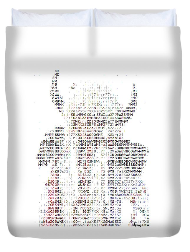 Native American Indian Head Dress Photo In Text Type Font Ascii Buffalo Hat Horns Costume Bison Hunter Chief Aboriginal People First Nation Indigenous Peoples Duvet Cover featuring the photograph The Chief by Andrea Lawrence