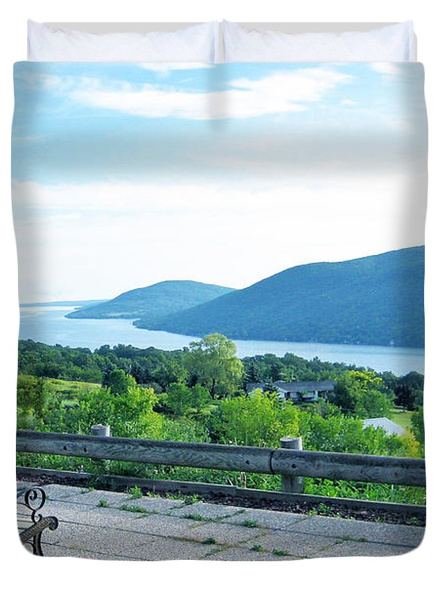 Lake Duvet Cover featuring the photograph The Chosen Spot by Mary Cloninger