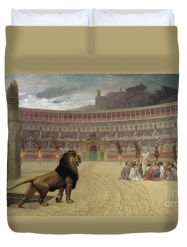 Arena; Stadium; Lion; Trap Door; Death; Martyr; Martyrdom; Roman; Praying; Christian; Rome; Kneeling; Crucifixion; Crucifix; Crowd; Spectators; Religious Persecution; Amphitheatre; Ramp; Forum; Martyr Duvet Cover featuring the painting The Christian Martyrs Last Prayer by Jean Leon Gerome
