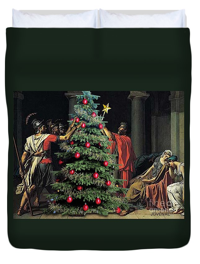 Canvas Prints Duvet Cover featuring the digital art The Christmas Tree Of The Horatii by Joseph Juvenal