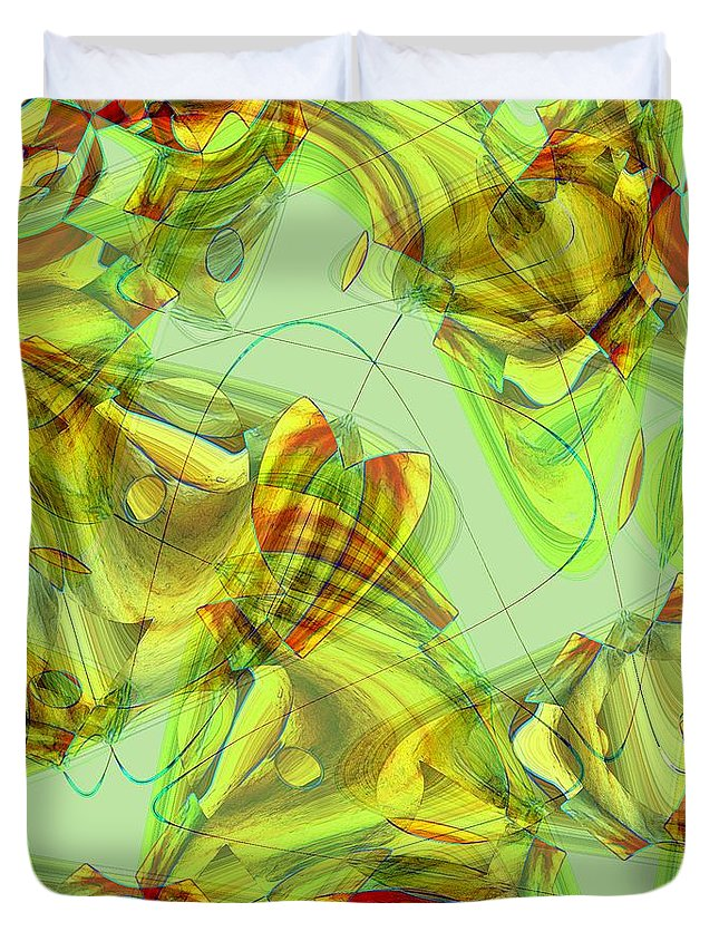 Abstract Duvet Cover featuring the painting The Chrysalis Shatters by RC DeWinter