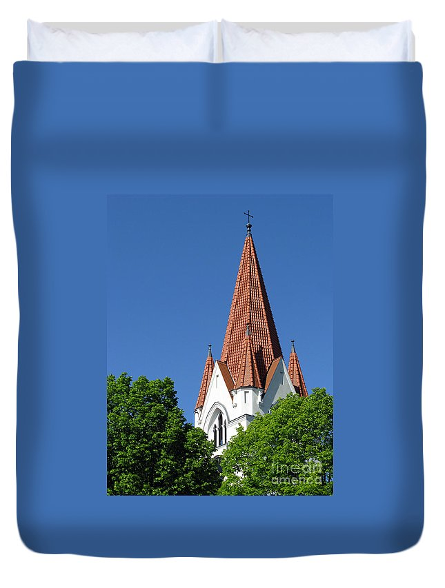 Urban Architecture Duvet Cover featuring the photograph The Chuch Tower- Silute- Lithuania by Ausra Huntington nee Paulauskaite