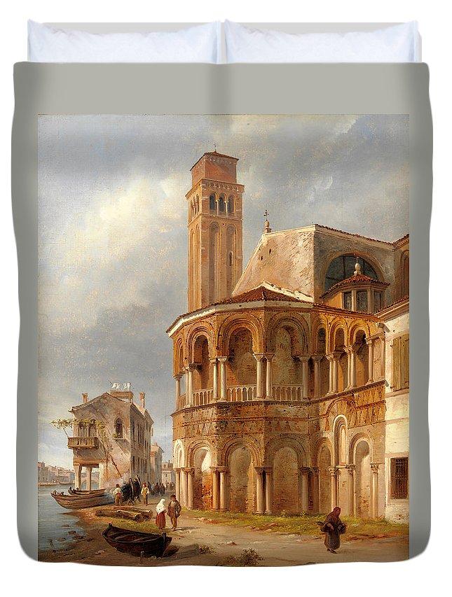 Luigi Querena Duvet Cover featuring the painting The Church Of Santa Maria E San Donato In Murano by Luigi Querena