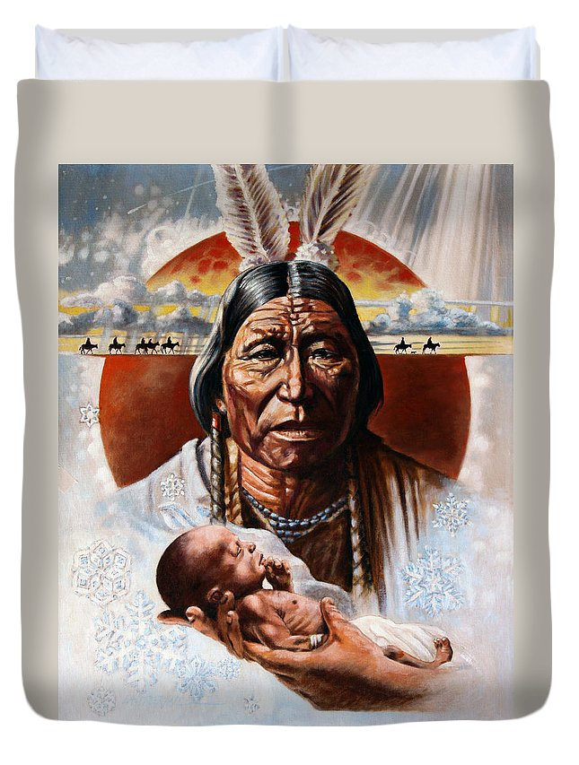 American Native Duvet Cover featuring the painting The Circle of Life by John Lautermilch