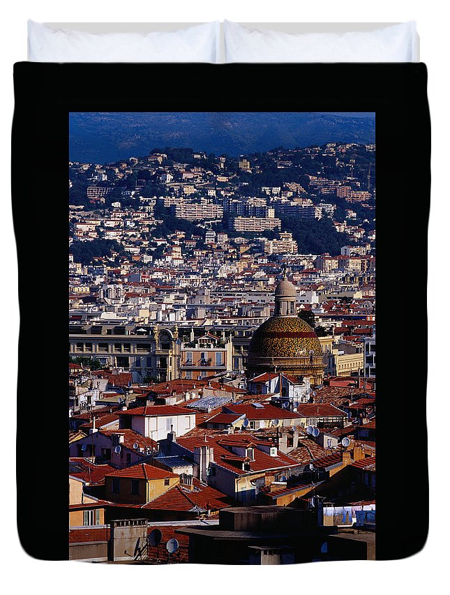 French Riviera Duvet Cover featuring the photograph The City From Parc Du Chateau Castle by Richard I'anson
