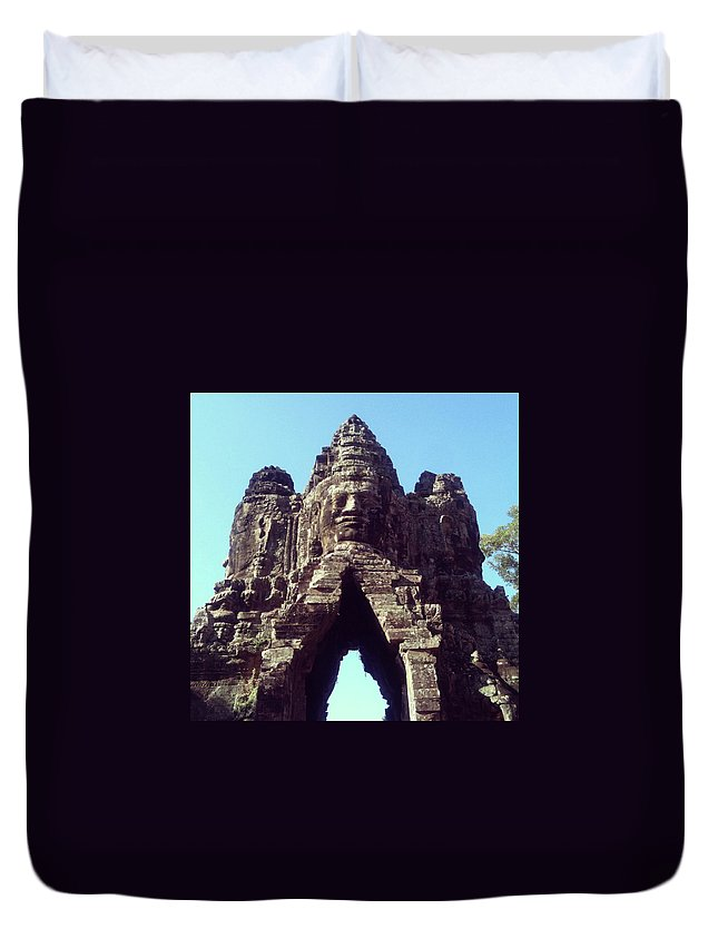 Arch Duvet Cover featuring the photograph The City Gates At Angkor by Lasse Kristensen