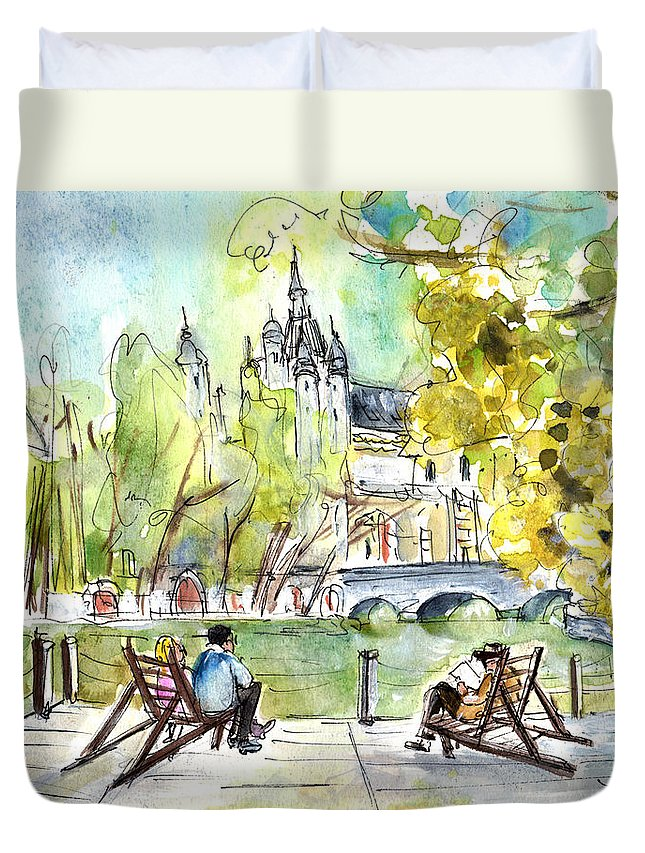 Travel Duvet Cover featuring the painting The City Park In Budapest 01 by Miki De Goodaboom