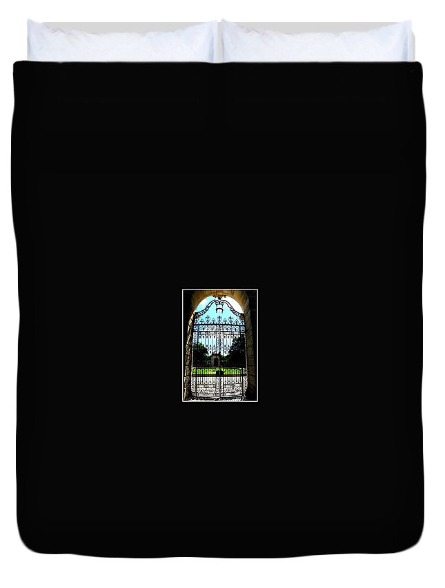 Gate Duvet Cover featuring the photograph The Gate At Vizcaya by Dora Sofia Caputo Photographic Design and Fine Art