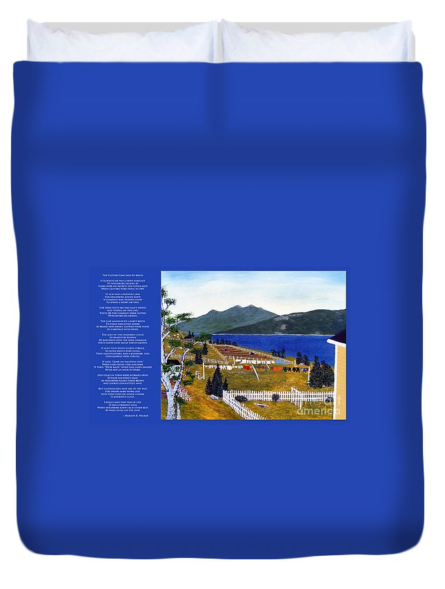 The Clothesline Duvet Cover featuring the painting The Clothesline by Barbara Griffin