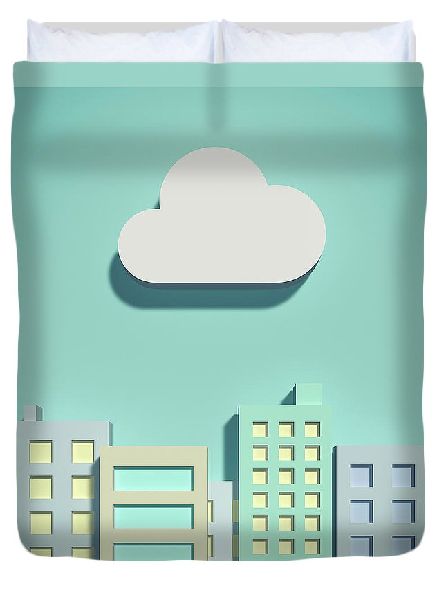 White Background Duvet Cover featuring the digital art The Cloud Network And Office Buildings by Yagi Studio