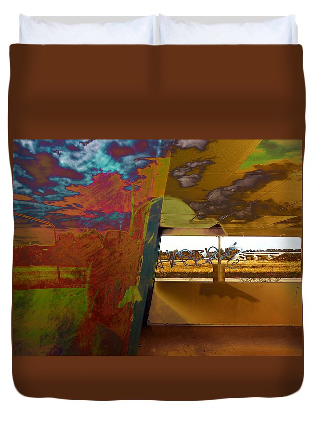 Overpass Duvet Cover featuring the photograph The Clouds Pass By My Window by David Pantuso