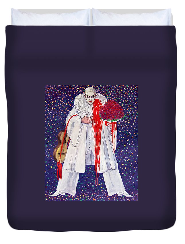 Clown Duvet Cover featuring the painting The Clown by Mountain Dreams