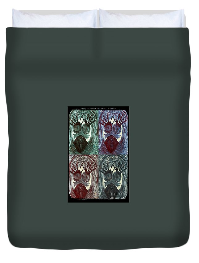 Faces Duvet Cover featuring the painting The Color Of Fear by Tina Vaughn
