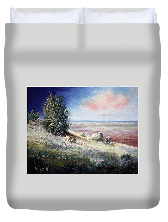 Roena King Duvet Cover featuring the painting The Colors Of Evening by Roena King