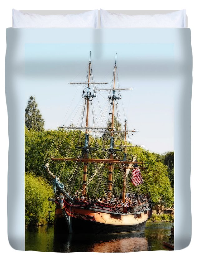 Ship Duvet Cover featuring the photograph The Columbia by Lynn Bauer