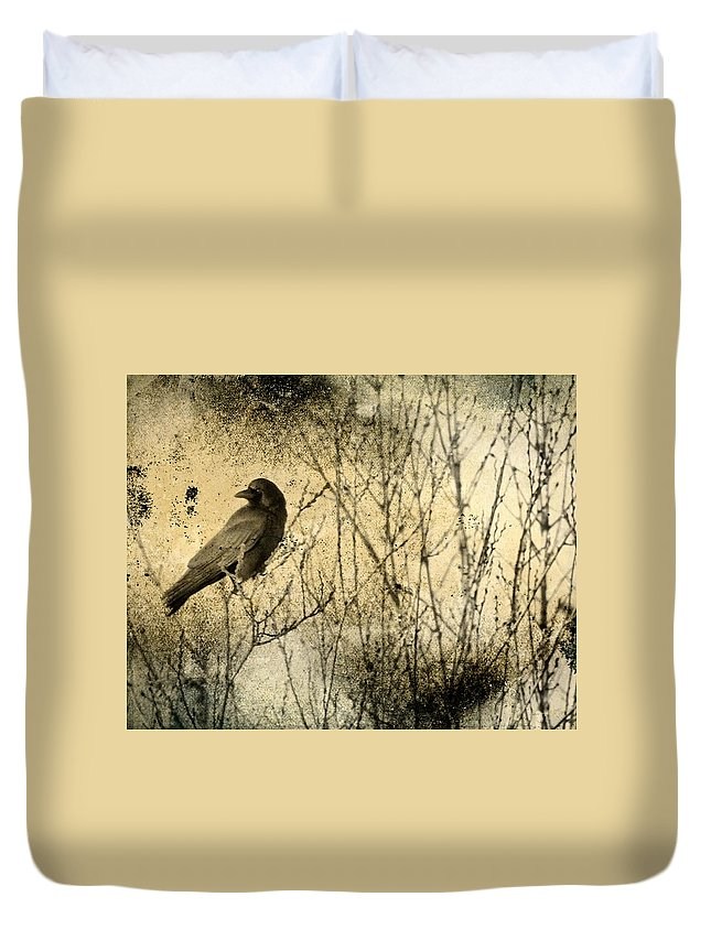 Crow Art Duvet Cover featuring the photograph The Common Crow by Gothicrow Images