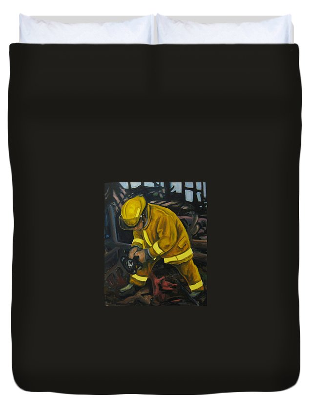The Compulsion Towards Heroism Duvet Cover featuring the painting The Compulsion Towards Heroism by John Malone