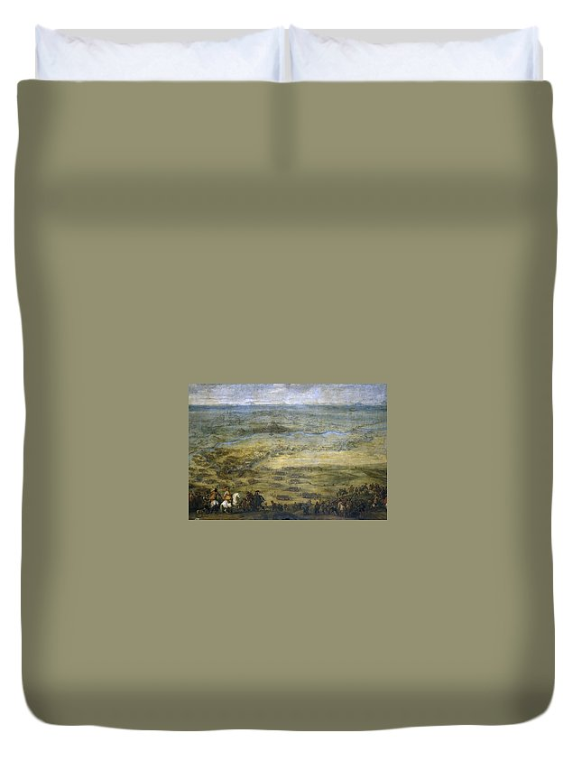 Pieter Snayers Duvet Cover featuring the painting The Conquest Of Lleida by Pieter Snayers
