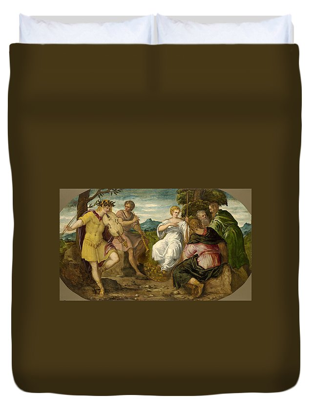 Tintoretto Duvet Cover featuring the painting The Contest Between Apollo And Marsyas by Tintoretto