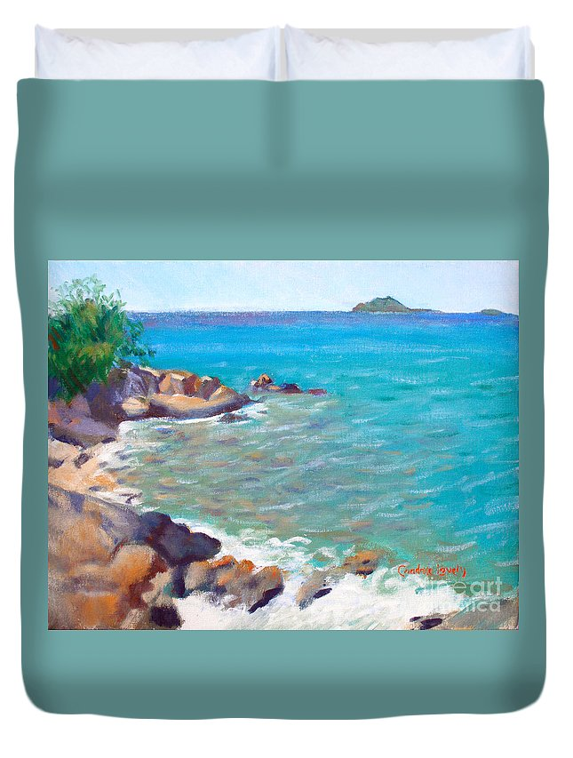 Honey Moon Beach Duvet Cover featuring the painting The Cottage View by Candace Lovely
