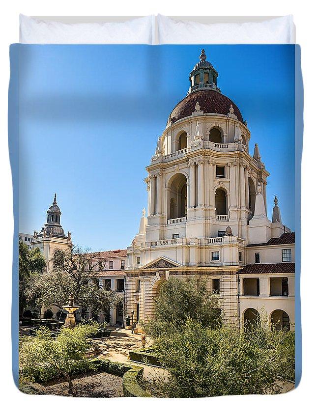 Pasadena City Hall Duvet Cover featuring the photograph The Courtyard - Beautiful Pasadena City Hall. by Jamie Pham