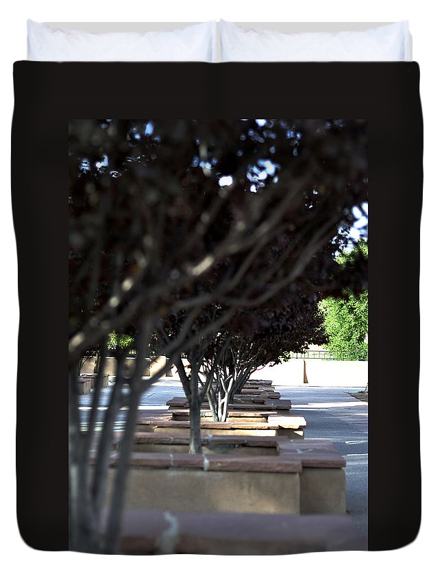 Trees Duvet Cover featuring the photograph The Courtyard by Pam Romjue