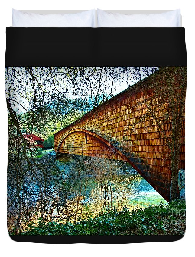 Historic Duvet Cover featuring the photograph The Covered Bridge by Long Love Photography