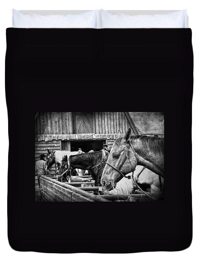 Horses Duvet Cover featuring the photograph The Cowboy by The Artist Project