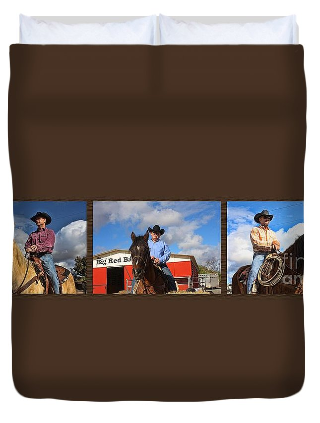 Cowboys Duvet Cover featuring the photograph The Cowboys by Tommy Anderson