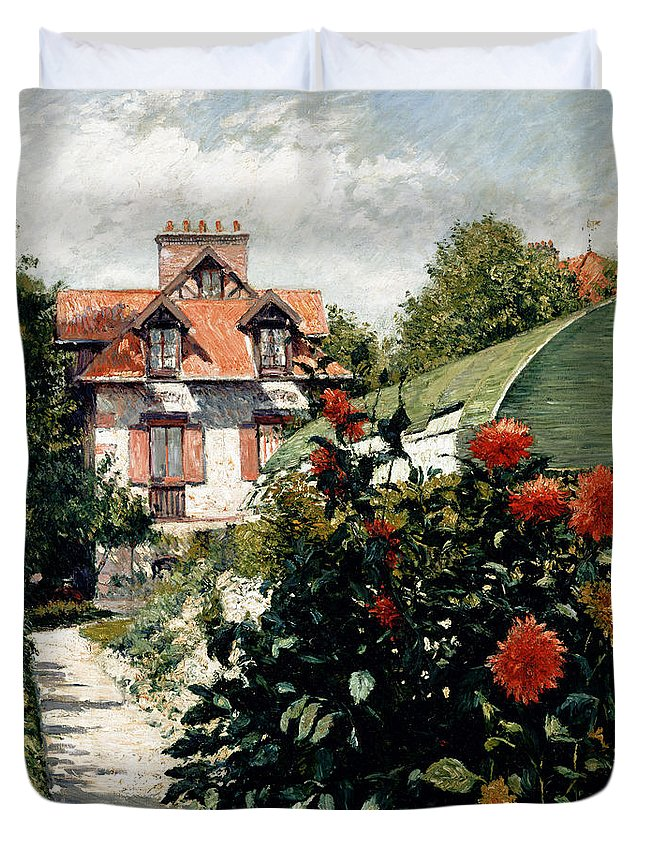 House Duvet Cover featuring the painting The Dahlias Garden At Petit Gennevilliers by Gustave Caillebotte