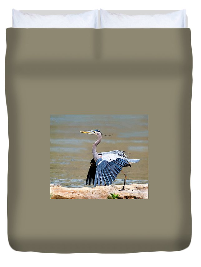 Heron Duvet Cover featuring the photograph The Dance by Betty LaRue