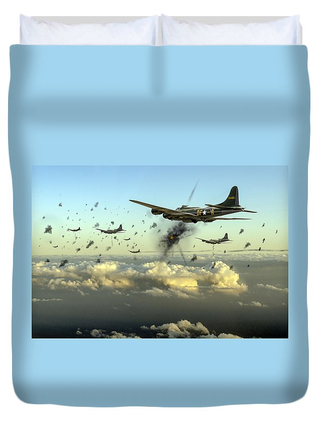 Flying Fortress Duvet Cover featuring the photograph The Day Job by Gary Eason