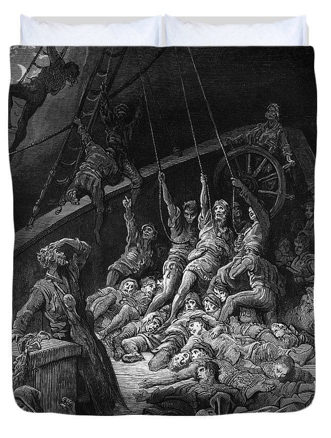 Sailor; Vessel; Ship; Sea; Miracle; Miraculous; Albatross; Scene From 'the Rime Of The Ancient Mariner' By S T; Coleridge; 1772-1834; 1876; Engraving; Dore Duvet Cover featuring the drawing The Dead Sailors Rise Up And Start To Work The Ropes Of The Ship So That It Begins To Move by Gustave Dore