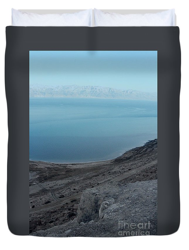 Jerusalem Duvet Cover featuring the photograph The Dead Sea - Looking At Jordan by Doc Braham