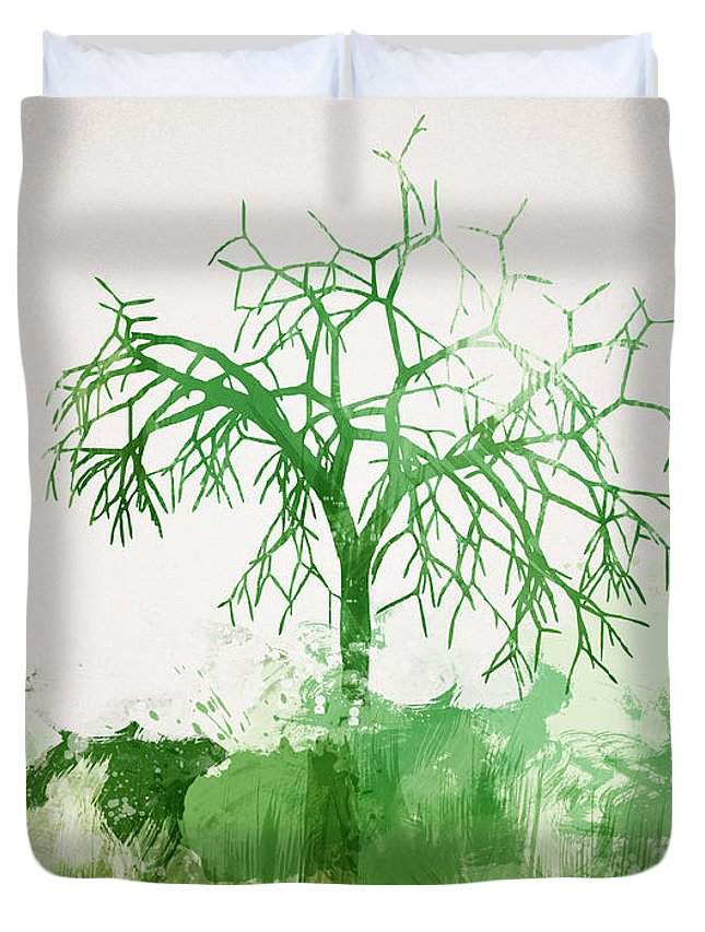 Abstract Duvet Cover featuring the digital art The Dead Tree by Aged Pixel