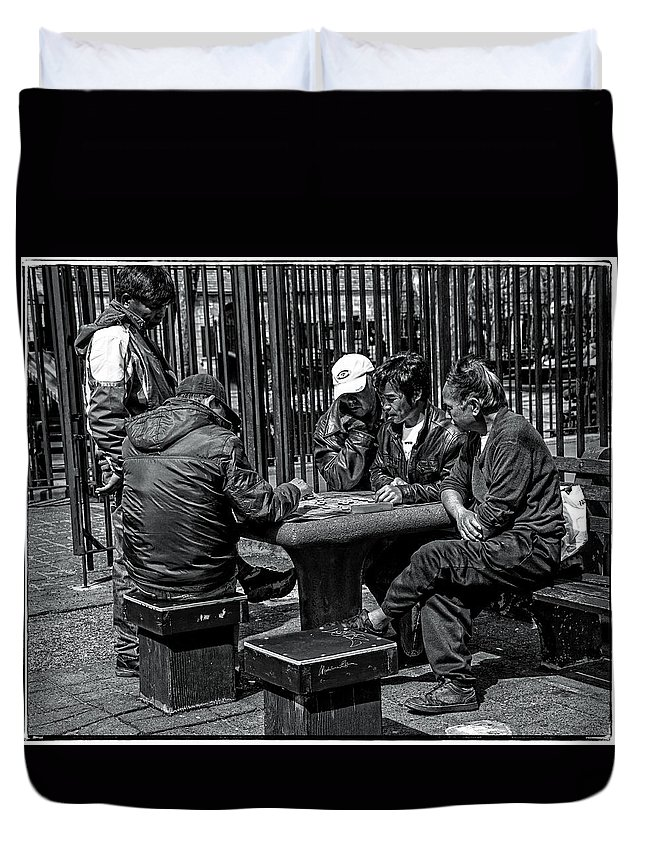 Men Duvet Cover featuring the photograph The Decisive Move by Madeline Ellis