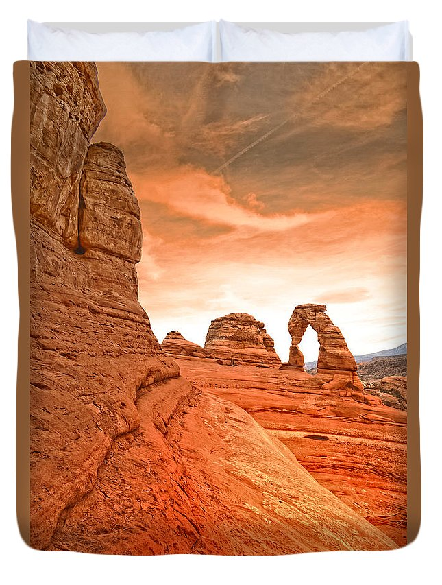 Delicate Duvet Cover featuring the photograph The Delicate Arch by Tara Turner