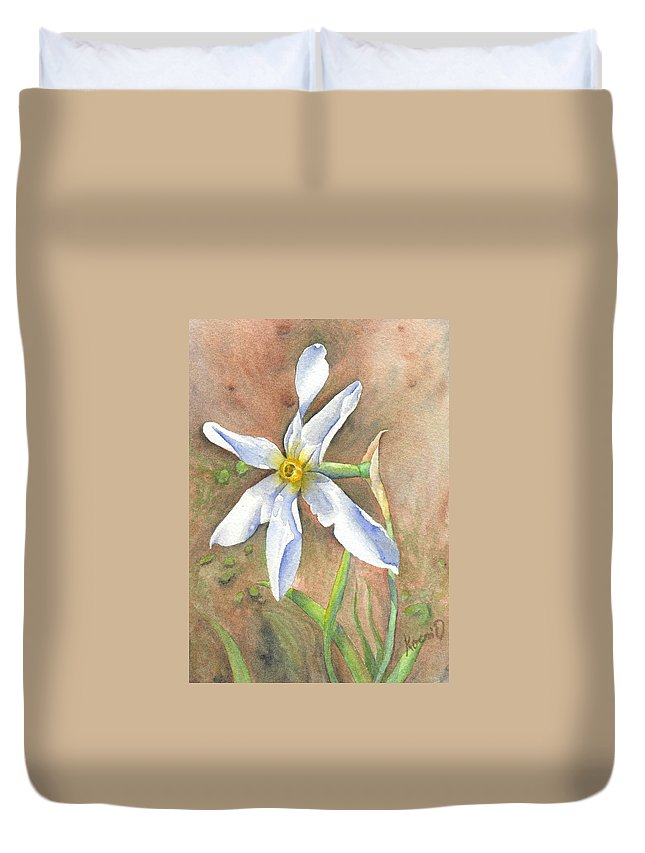 Narcissus Duvet Cover featuring the painting The Delicate Autumn Lady - Narcissus Serotinus by Oty Kocsis