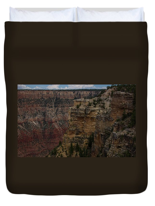 Sunrise Duvet Cover featuring the photograph The Depths Of The Canyons by Kathleen Odenthal