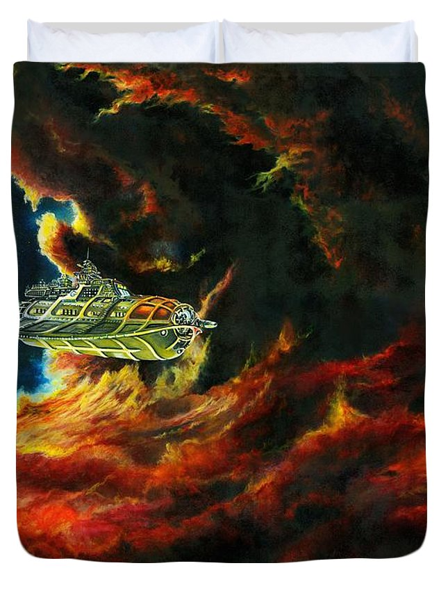 Devil Duvet Cover featuring the painting The Devil's Lair by Murphy Elliott